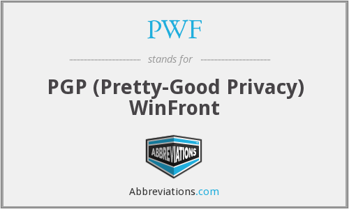 PWF - PGP (Pretty-Good Privacy) WinFront