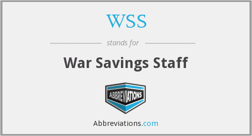 WSS - War Savings Staff