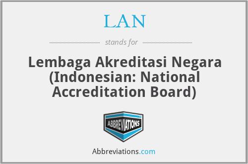 LAN - Lembaga Akreditasi Negara (Indonesian: National Accreditation Board)
