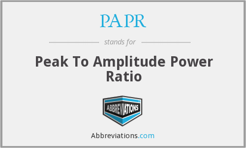 PAPR - Peak To Amplitude Power Ratio