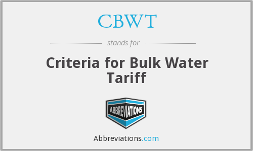 CBWT - Criteria for Bulk Water Tariff