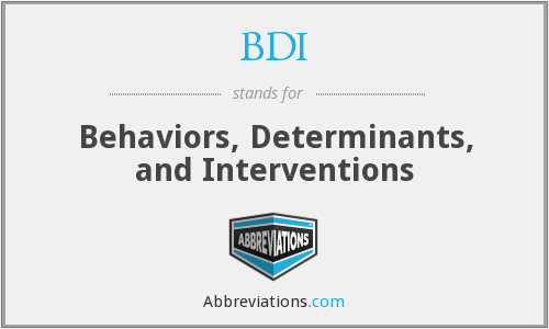 BDI - Behaviors, Determinants, and Interventions