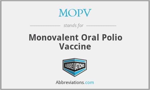 MOPV - Monovalent Oral Polio Vaccine
