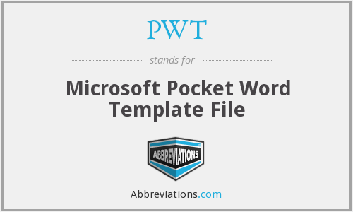 PWT - Microsoft Pocket Word Template File