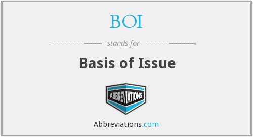BOI - Basis of Issue