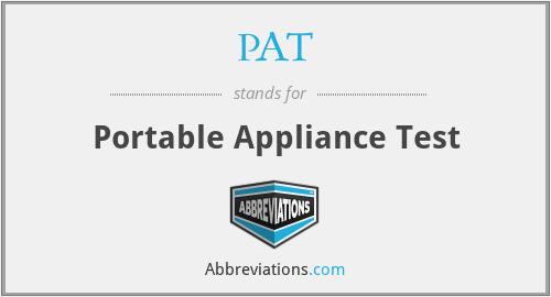 PAT - Portable Appliance Test