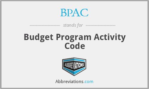 BPAC - Budget Program Activity Code