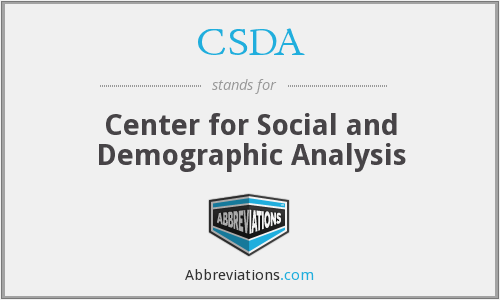 CSDA - Center for Social and Demographic Analysis
