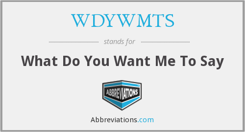 WDYWMTS - What Do You Want Me To Say