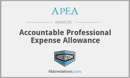 APEA - Accountable Professional Expense Allowance