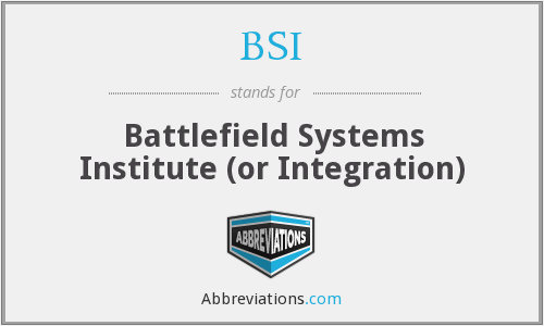 BSI - Battlefield Systems Institute (or Integration)