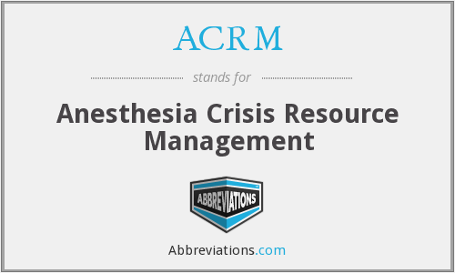 ACRM - Anesthesia Crisis Resource Management