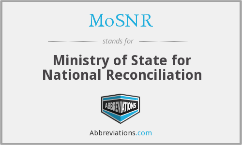 MoSNR - Ministry of State for National Reconciliation