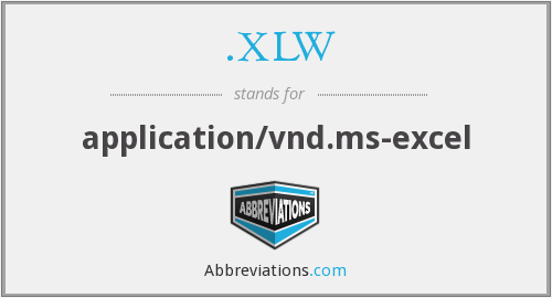 .XLW - application/vnd.ms-excel
