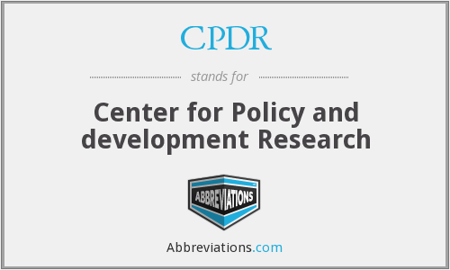 What does CPDR stand for?