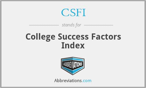 CSFI - College Success Factors Index