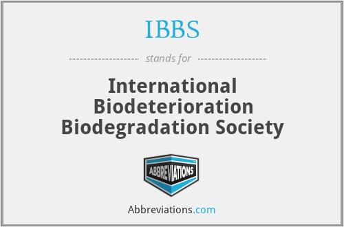 IBBS - International Biodeterioration Biodegradation Society