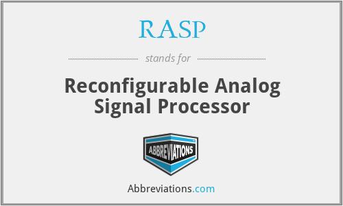 RASP - Reconfigurable Analog Signal Processor