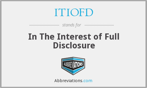 What does ITIOFD stand for?