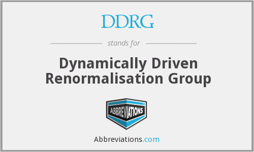 DDRG - Dynamically Driven Renormalisation Group