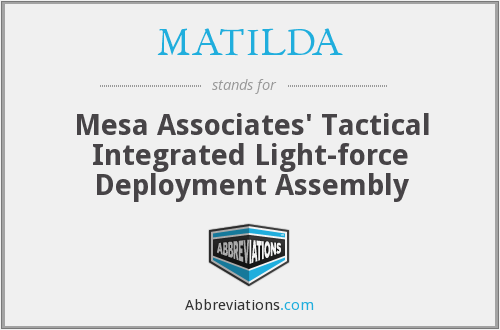 MATILDA - Mesa Associates' Tactical Integrated Light-force Deployment Assembly
