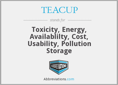 TEACUP - Toxicity, Energy, Availablilty, Cost, Usability, Pollution Storage
