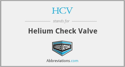 HCV - Helium Check Valve