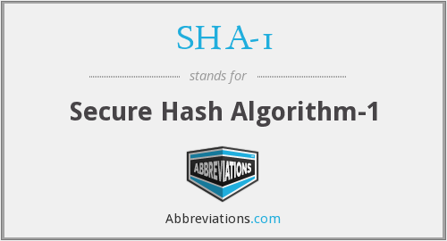 What does SHA-1 stand for?