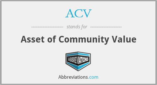 ACV - Asset of Community Value