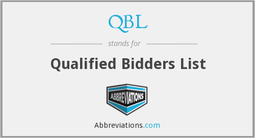 QBL - Qualified Bidders List