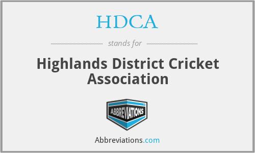 HDCA - Highlands District Cricket Association