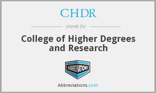 CHDR - College of Higher Degrees and Research