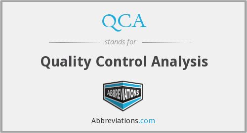 QCA - Quality Control Analysis