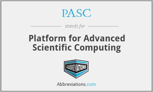 PASC - Platform for Advanced Scientific Computing