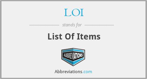 LOI - List Of Items