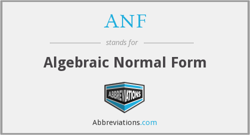 ANF - Algebraic Normal Form