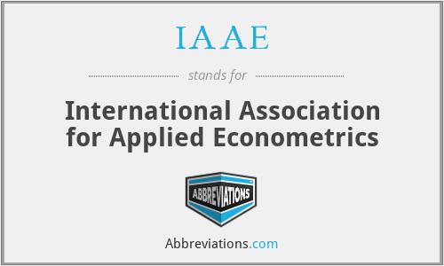 IAAE - International Association for Applied Econometrics