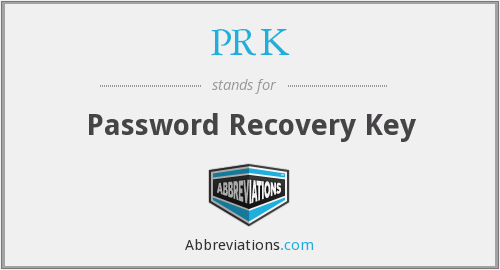 PRK - Password Recovery Key