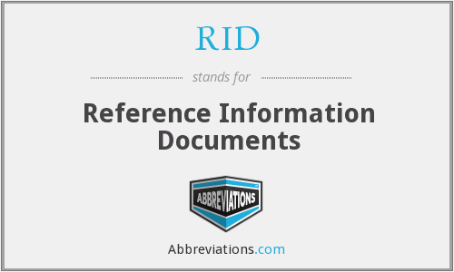 RID - Reference Information Documents