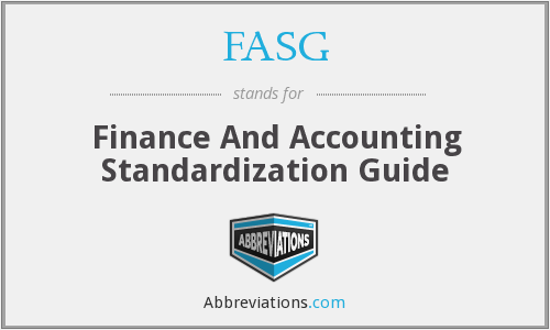 FASG - Finance And Accounting Standardization Guide
