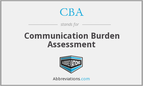 CBA - Communication Burden Assessment
