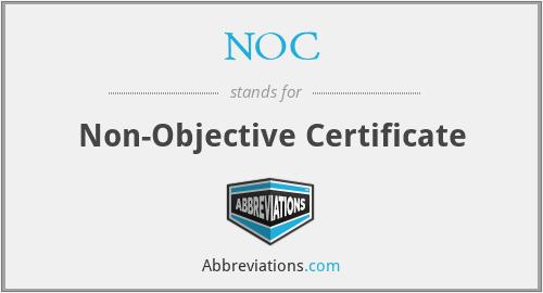 NOC - Non-Objective Certificate