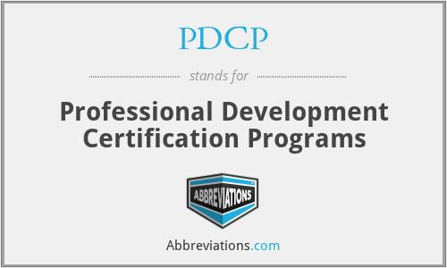 PDCP - Professional Development Certification Programs