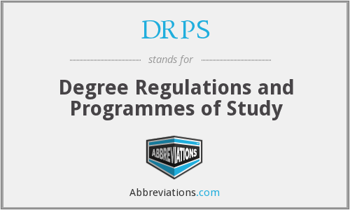 DRPS - Degree Regulations and Programmes of Study