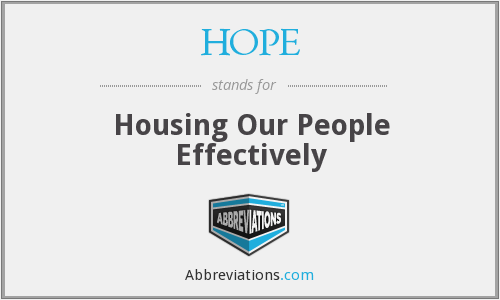 HOPE - Housing Our People Effectively