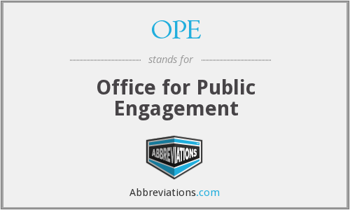 OPE - Office for Public Engagement