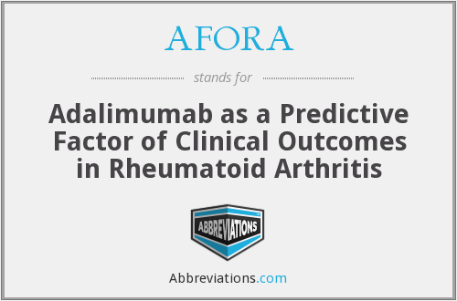 AFORA - Adalimumab as a Predictive Factor of Clinical Outcomes in Rheumatoid Arthritis