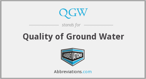 QGW - Quality of Ground Water