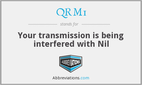 QRM1 - Your transmission is being interfered with Nil