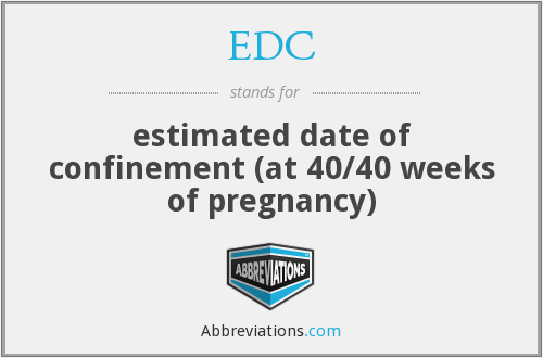 EDC - estimated date of confinement (at 40/40 weeks of
